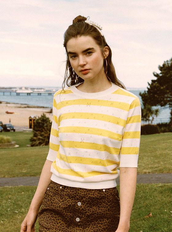 Pastel Stripe Knit Top in Yellow VK9MP0300
