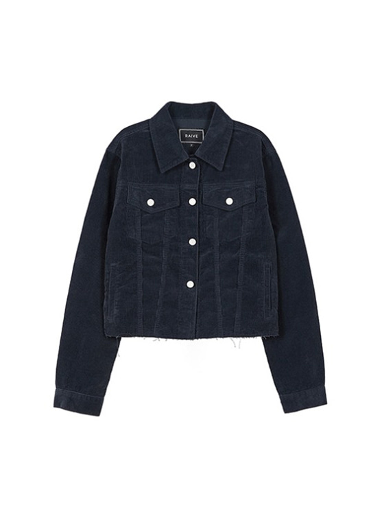 Corduroy Crop Jacket in Navy VW9SJ0030