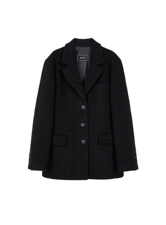 Wool Oversized Single Jacket in Black VW9AJ0500