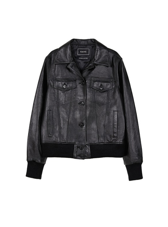 Leather Blouson Jacket in Black VL9AJ0380