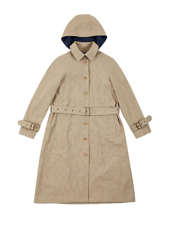 Single Button Hood Trench Coat in Check VW9AR0480