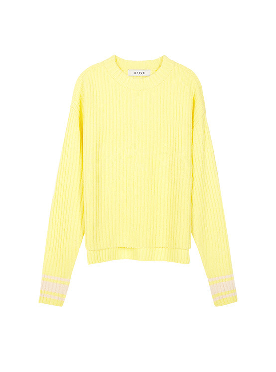 Acrylic Tam High Neck Knit in Yellow VK9WP0770