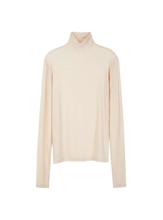 See Through Turtle Neck Top in Beige VW9WE0850