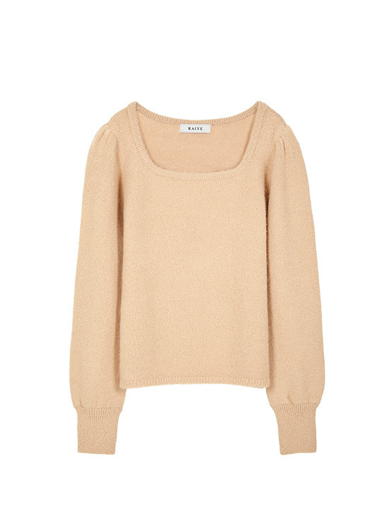 Square Neck Soft Knit in Beige VK9WP0780