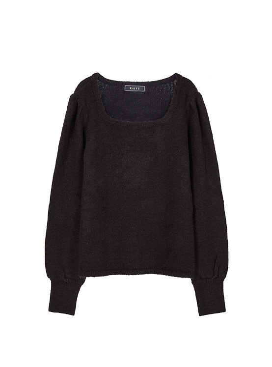 Square Neck Soft Knit in Black VK9WP0780