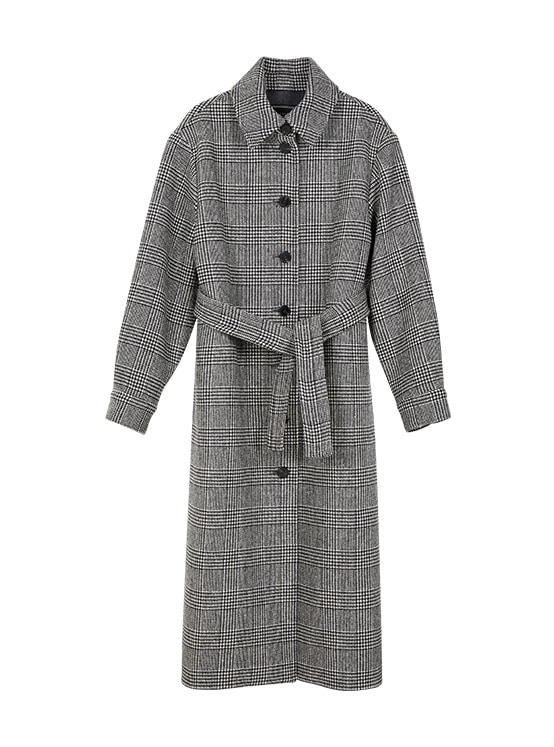 Hound Tooth Single Maxi Coat in Check VW9WH0530