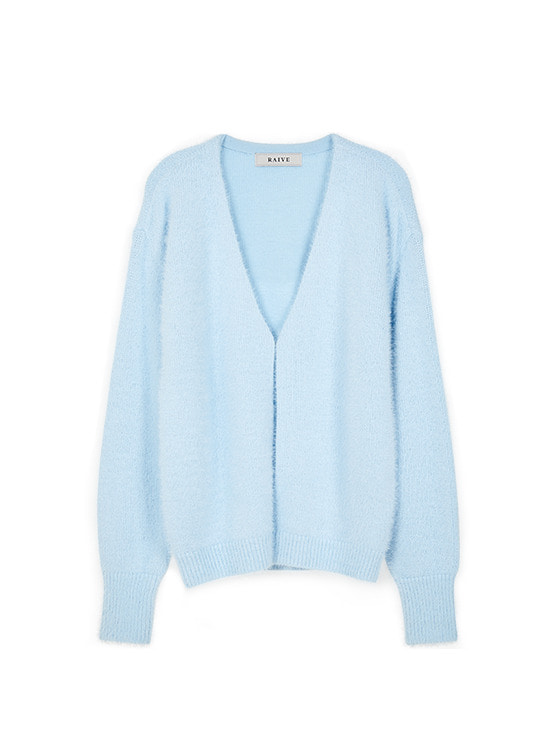 Hairy V Neck Cardigan in S/Blue VK9WD0790