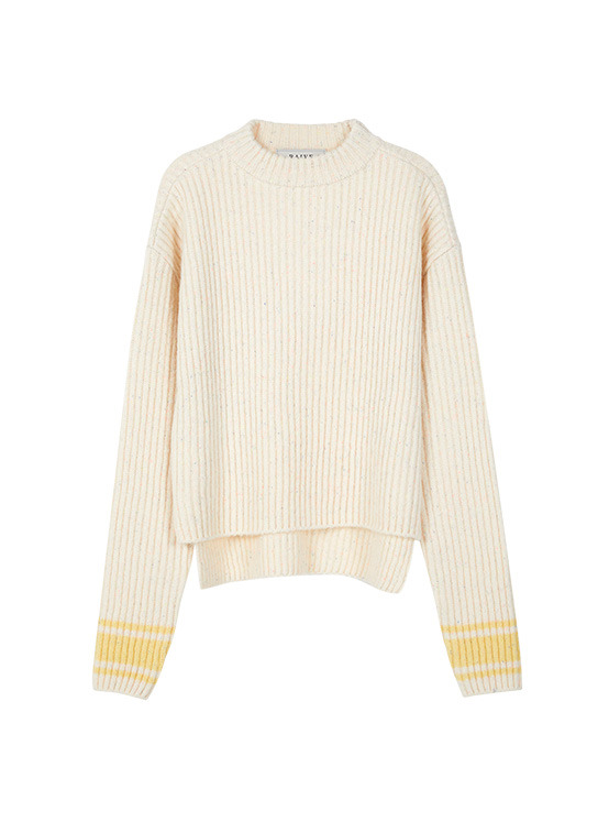 Neon Nep High Neck Knit in Ivory VK9WP0800
