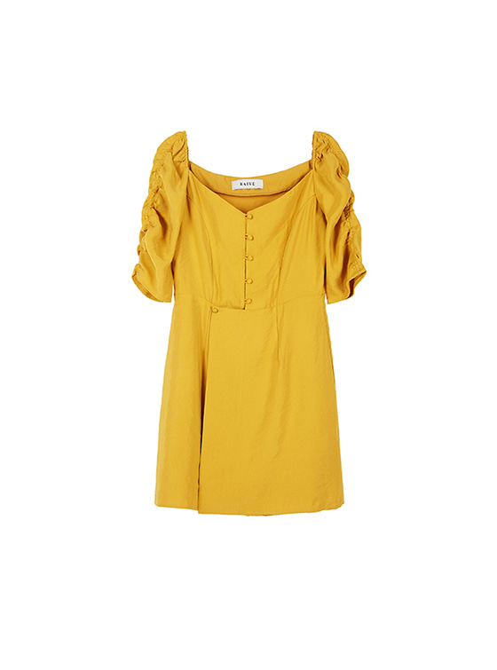 Shirring Sleeve Dress in Mustard VW8AO0400