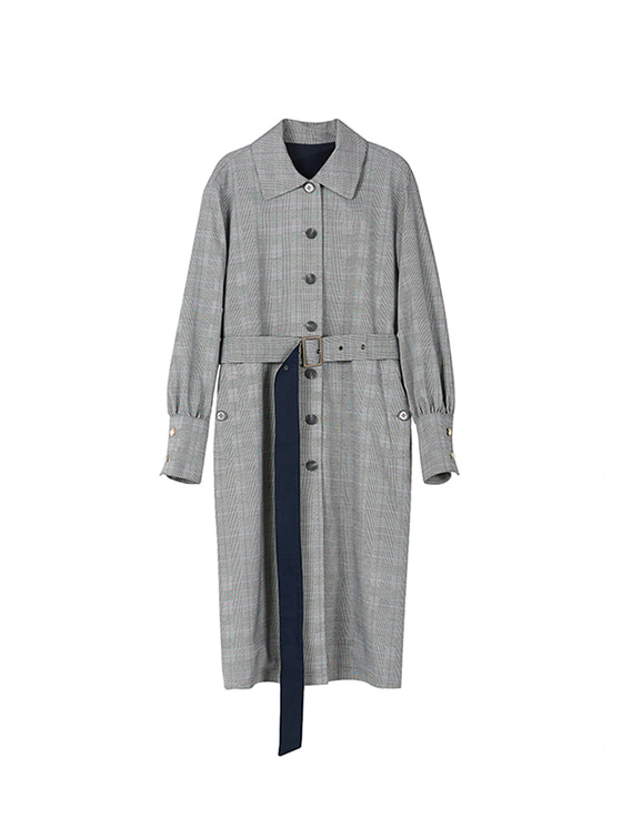 Puff Sleeve Trench Coat in Gr+Ch VW8AR0120
