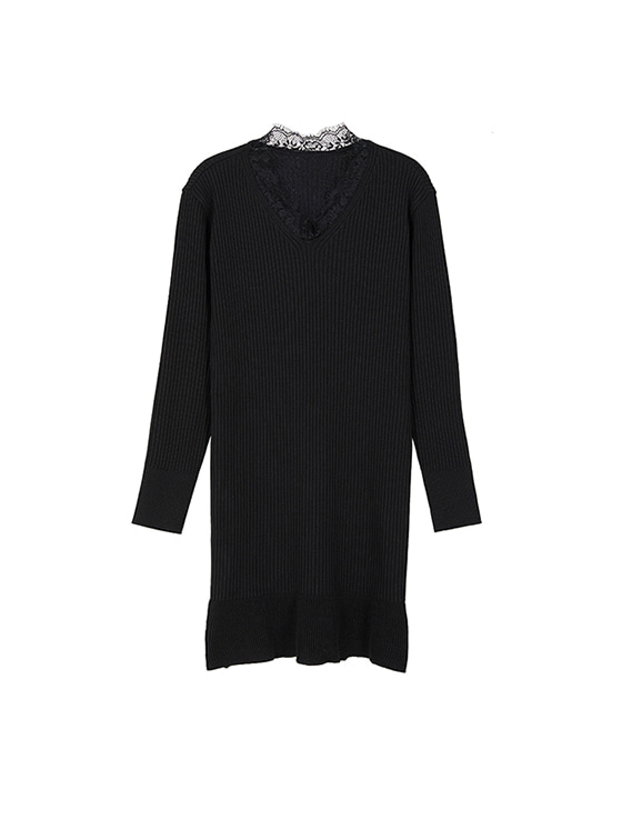 Lace Neck Mermaid Knit OP in Black VK8WO0420