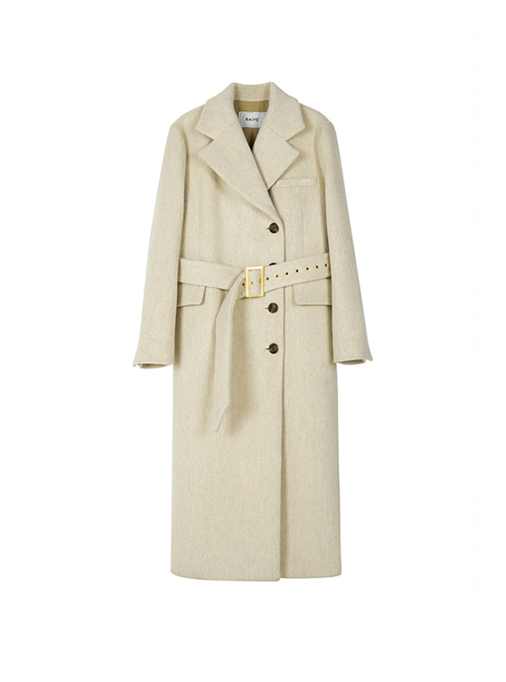Maxi Long Belted Coat in Beige VW8WH0080