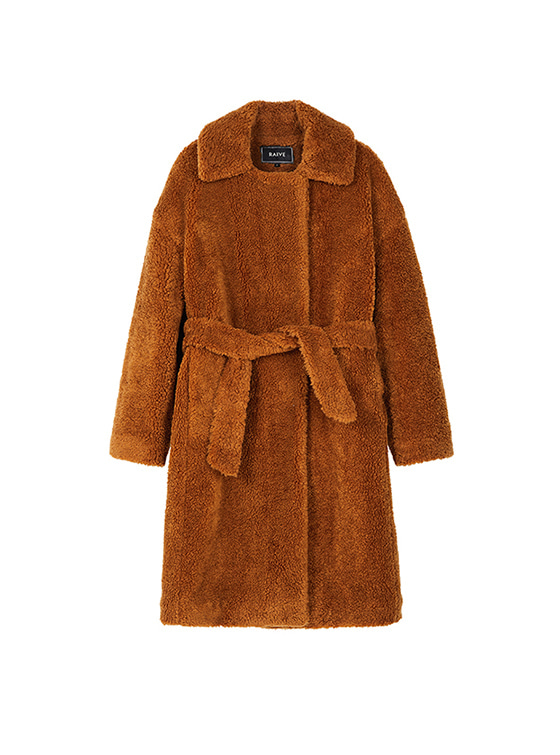 Quilted Teddy Bear Coat in Brown VW8WH0090