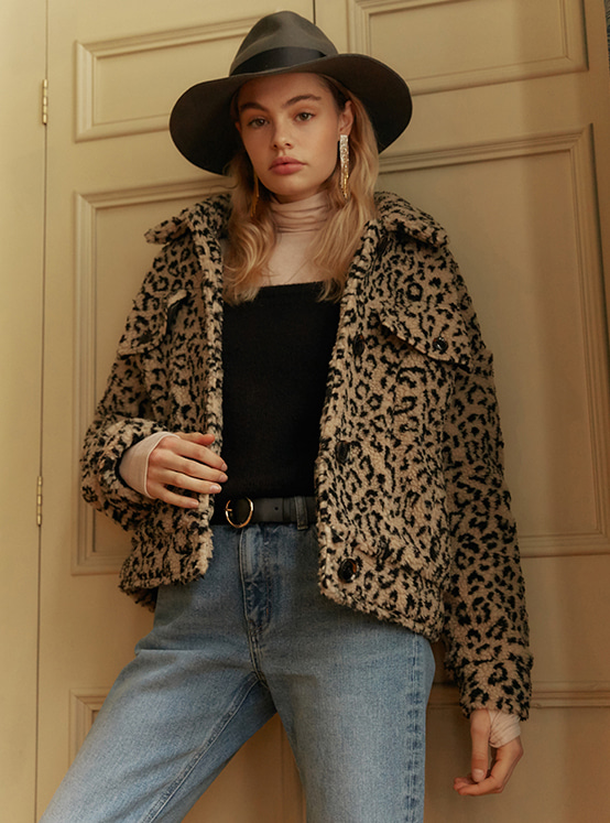 Print Teddy Bear Jacket in Leopard VW9WJ0570