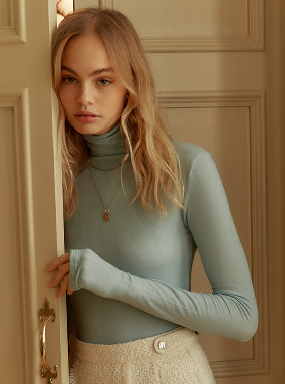 See Through Turtle Neck Top in Blue VW9WE0850