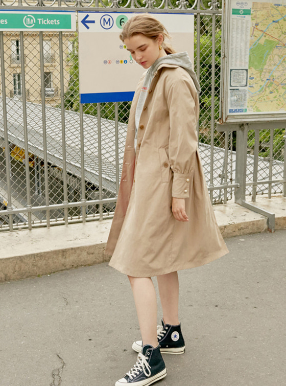 Puff Sleeve Trench Coat in Be+Ch VW8AR0120