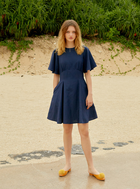 Linen Flare dress in Navy VW8MO0270